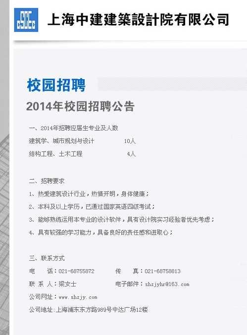 上海中建建筑设计院有限公司2014校园招聘